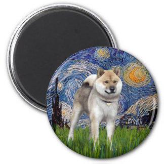 Starry Night - Shiba Inu 6 Cm Round Magnet