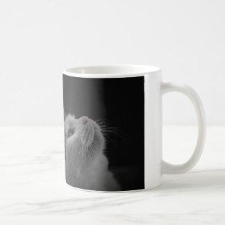 Starry night sky black & white cat with blue eyes coffee mug