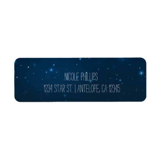 Starry Night Sky Blue Stars Wedding Address Labels