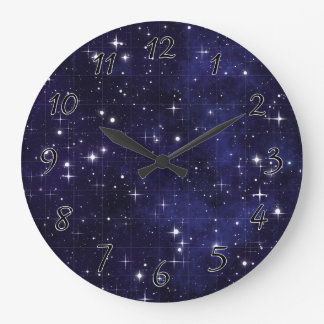 Starry Night Sky Grid Large Clock