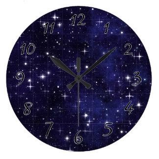 Starry Night Sky Grid Wall Clocks