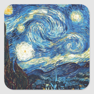 Starry Night Square Sticker