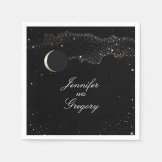Starry Night Stars Black and Gold Wedding Paper Napkin