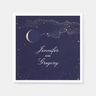Starry Night Stars Navy and Gold Wedding Paper Napkin