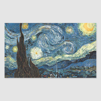 Starry Night Rectangular Sticker