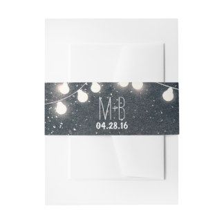 Starry Night String Lights Wedding Invitation Belly Band