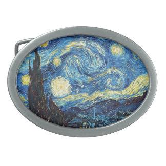 starry night swirly belt buckle