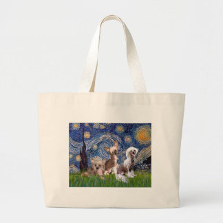 Starry Night - Three HL Chinese Cresteds Large Tote Bag
