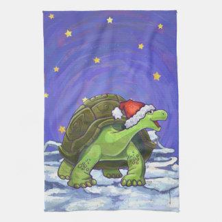 Starry Night Tortoise Christmas Tea Towel