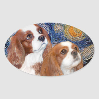 Starry Night - Two Blenheim Cavaliers Oval Sticker