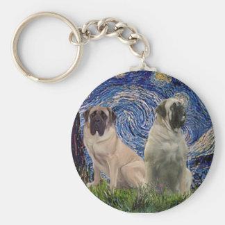 Starry Night - Two Bull Mastiffs Key Ring