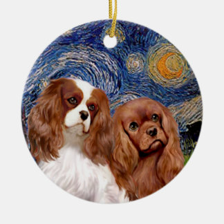 Starry Night - TWO Cavaliers (BL+Ruby) Christmas Ornament