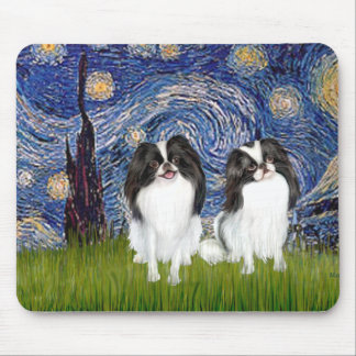 Starry Night - Two Japanese Chins (BW) Mouse Pads