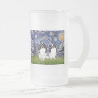 Starry Night - Two Japanese Chins (BW) Coffee Mugs