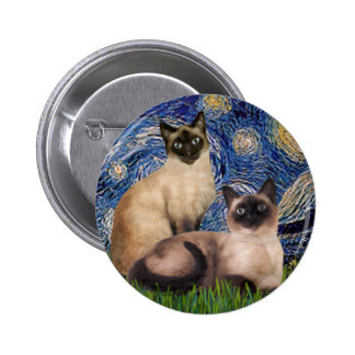 Starry Night - Two Siamese cats (Choc Pt) 6 Cm Round Badge