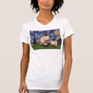 Starry Night - Two Siamese cats (Choc Pt) T-Shirt