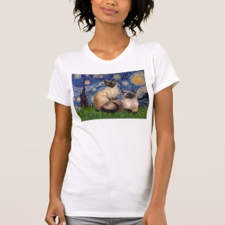 Starry Night - Two Siamese cats (Choc Pt) T-shirts