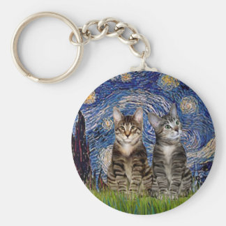Starry Night - Two Tabby Tiger Cats Key Ring
