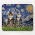 Starry Night - Two Tabby Tiger Cats Mousepad