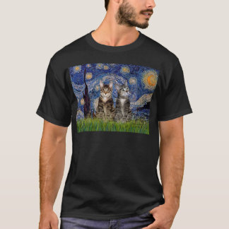 Starry Night - Two Tabby Tiger Cats T-Shirt