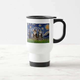 Starry Night - Two Tabby Tiger Cats Travel Mug