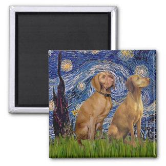 Starry Night - Two Vizslas Magnet