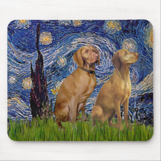 Starry Night - Two Vizslas Mouse Pad