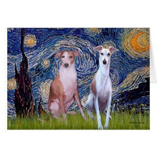 Starry Night - Two Whippets Greeting Card
