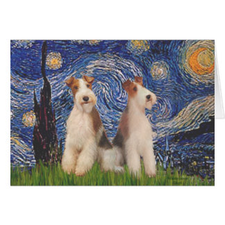 Starry Night - Two Wire Fox Terriers Greeting Card