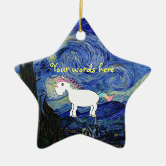 Starry night unicorn ornament