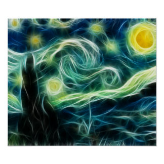 Starry Night Van Gogh Fractal art Poster