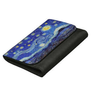 Starry Night Van Gogh Inspired Leather Wallet