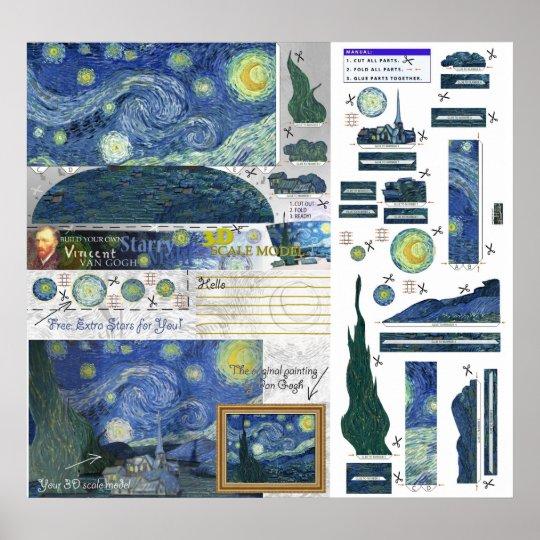Starry Night Van Gogh Papercraft Poster Print