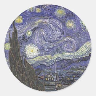 Starry Night - Van Gogh Round Sticker