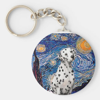 Starry Night (Vertical)  - Dalmatian Basic Round Button Key Ring