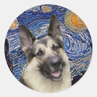 Starry Night (Vertical) - German Shepherd 9 Classic Round Sticker
