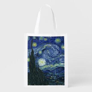 Starry Night Vincent van Gogh Fine Art Painting Reusable Grocery Bag
