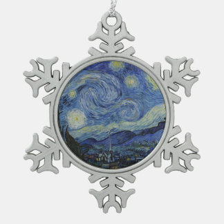 Starry Night Vincent van Gogh Snowflake Pewter Christmas Ornament