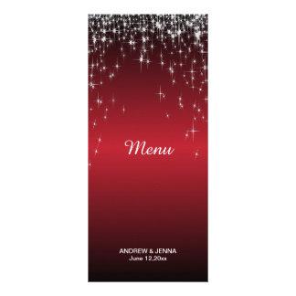 Starry Night Wedding in Color   Metallic Dark Red Rack Card Design