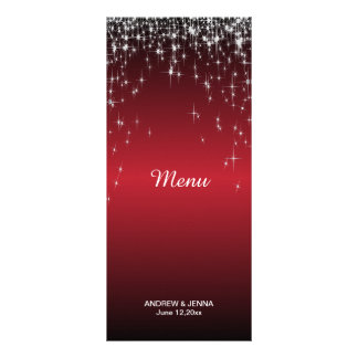 Starry Night Wedding in Color | Metallic Dark Red Rack Card Design
