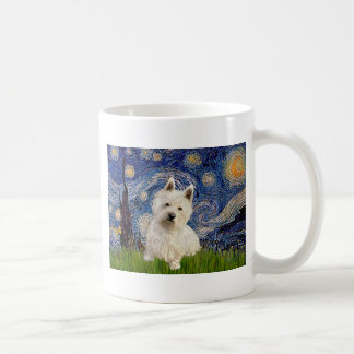 Starry Night - Westie 1 Basic White Mug