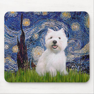 Starry Night - Westie 2 Mouse Mat