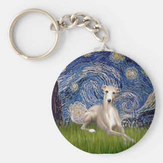Starry Night - Whippet #2 Basic Round Button Key Ring