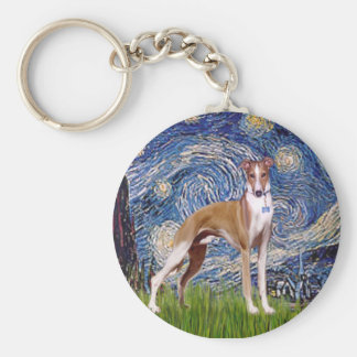 Starry Night - Whippet (stand) Basic Round Button Key Ring