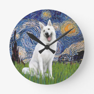 Starry Night - White German Shepherd Round Clock