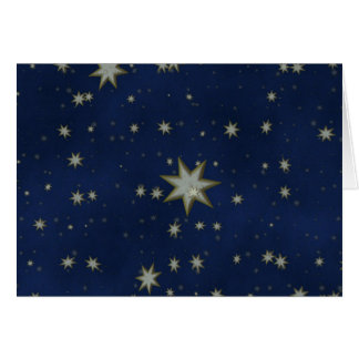 Starry Night: White, Gold stars on Blue background Greeting Cards