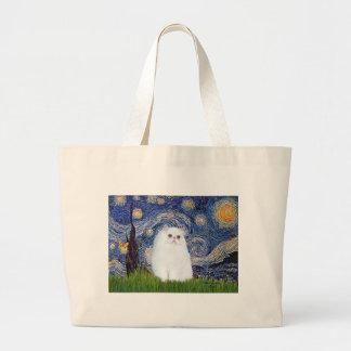 Starry Night - White Persian kitten Large Tote Bag