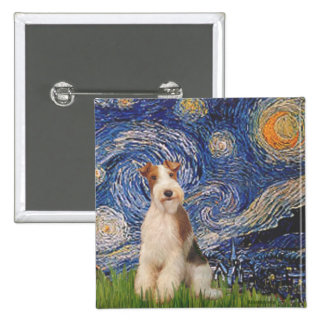 Starry Night - Wire Fox Terrier 3 15 Cm Square Badge