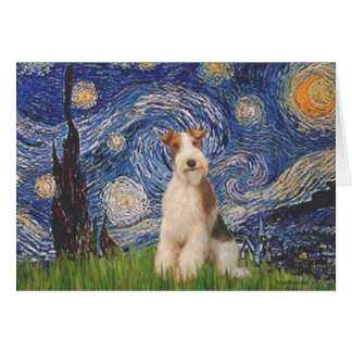 Starry Night - Wire Fox Terrier 3 Greeting Card