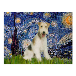 Starry Night - Wire Fox Terrier (M) Postcard